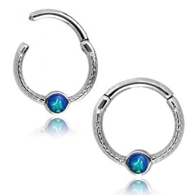 Clicker Ring till piercing - Kirurgiskt stål med blå opalit