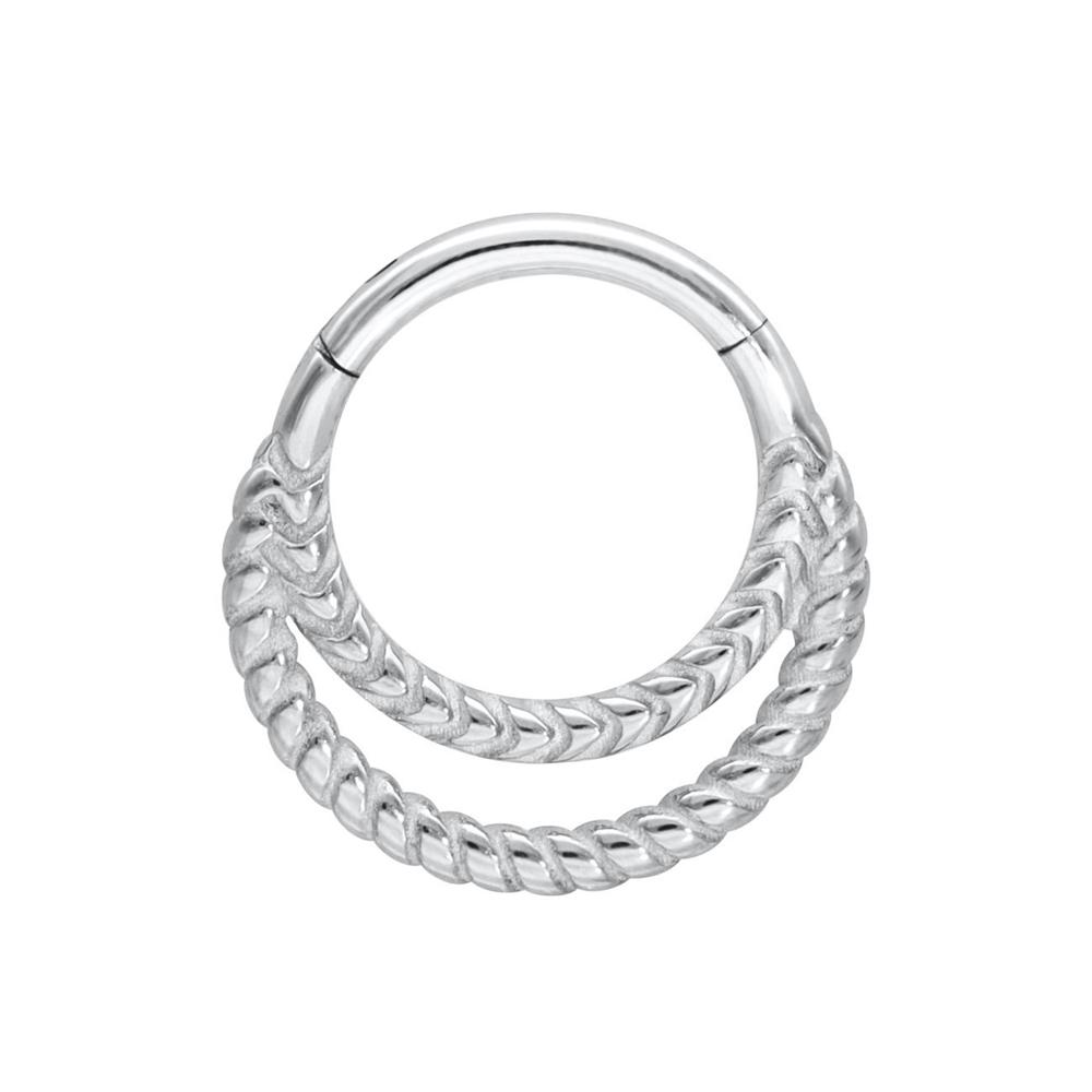Silvrig clicker ring - Dubbla ringar - Piercingsmycke i kirurgiskt stål