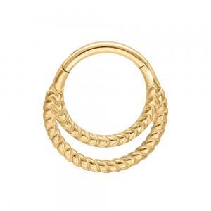 Clicker ring guld - Dubbla ringar - Piercingsmycke i kirurgiskt stål
