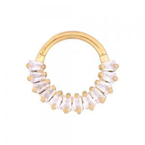 Guldring till piercing med kristaller - Clicker 1.2 mm