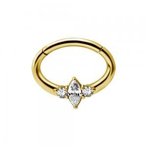 Septum / Daith Clicker ring - 24k guldplätering - Piercingsmycke med avlång kristall