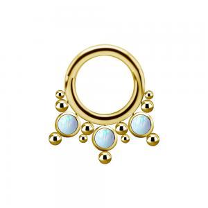 Septumsmycke - Guld - Titan med vita opaliter