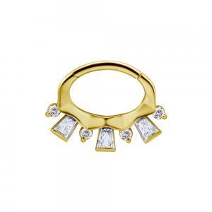 Septum / Daith Clicker ring - 24k guld pvd - Piercingsmycke med fyrkantiga kristaller
