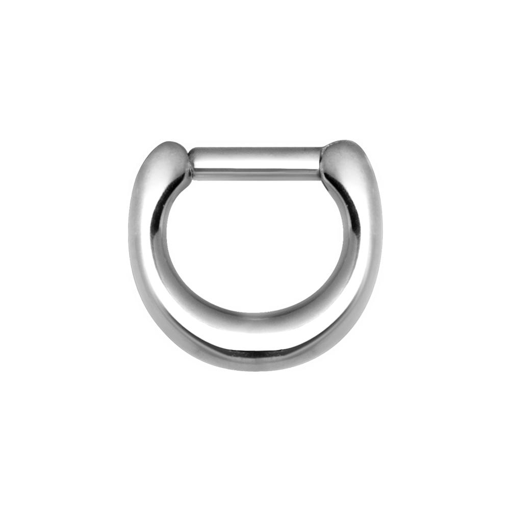 Silvrig ring - Bred clicker - Piercingsmycke i kirurgiskt stål