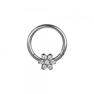 Silvrig ring - Piercingsmycke - Blomma