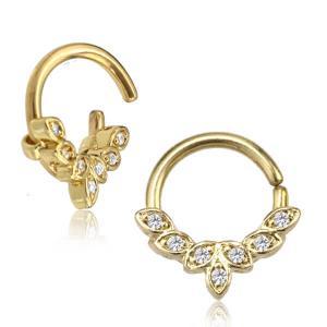 Ring med kristaller - Piercingsmycke - PVD Guld