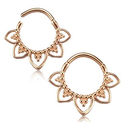 Septum / Daith Clicker smycke - Pvd Roséguld - Lotus