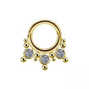 Septumsmycke - Guld - Titan med vita kristaller