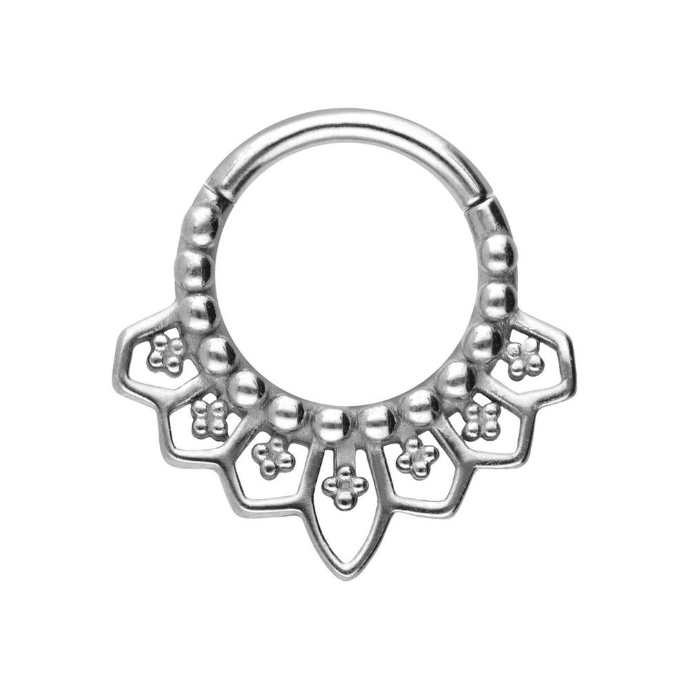 Silvrig clicker ring  - Piercingsmycke i kirurgiskt stål - Mandala