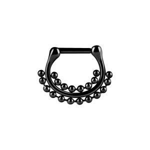 Septum Clicker, Double Bead ring, Svart
