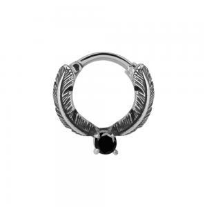 Septum Clicker, Feather ring, Svart