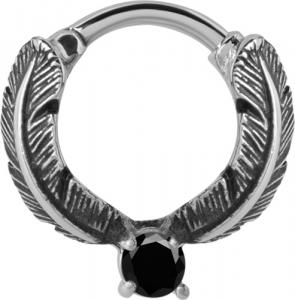 Septum Clicker, Feather ring, Svart