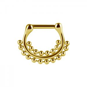 Septum Clicker, Double Bead ring, Guld