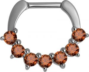 Septum Clicker, Orange Swarovski