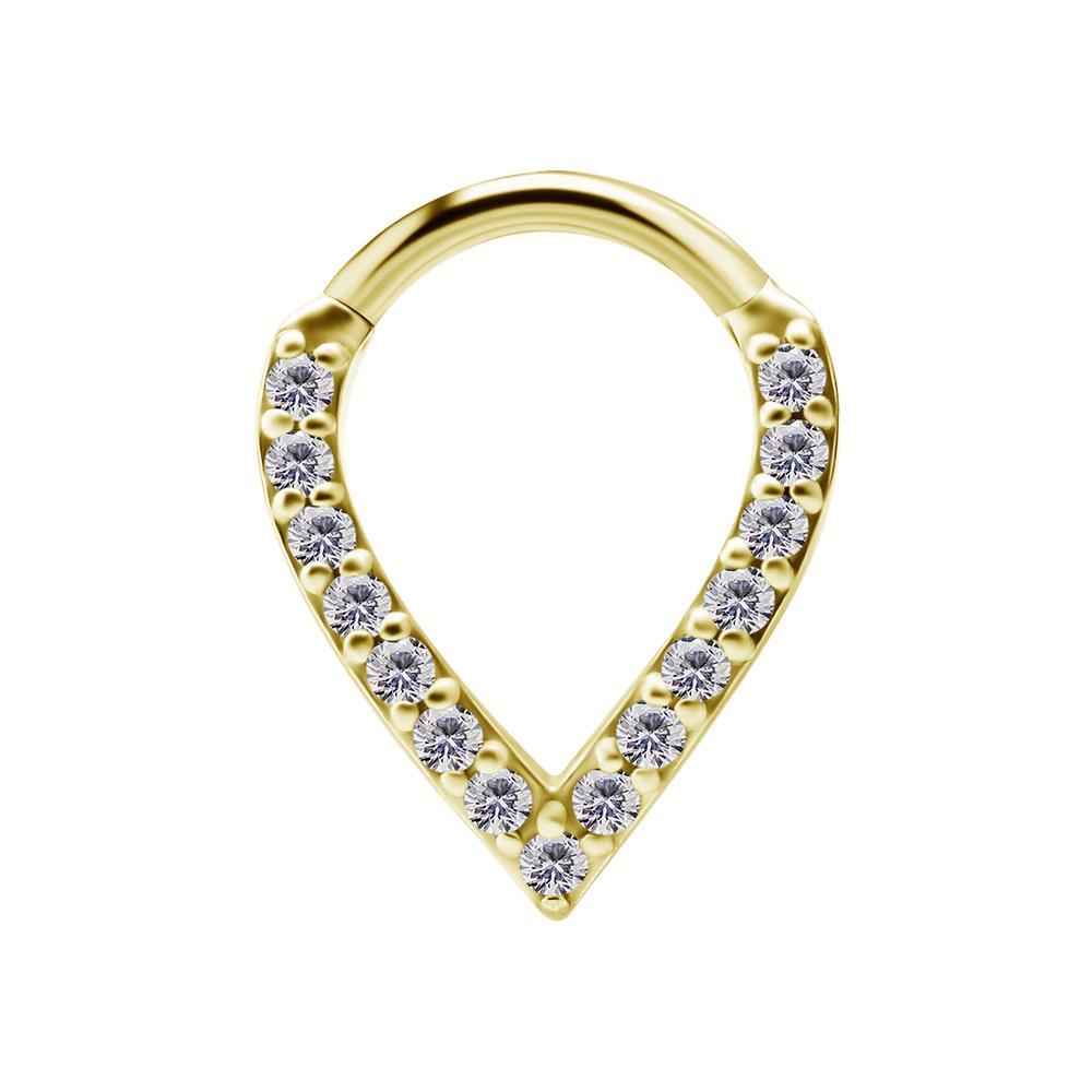 Ring till piercing - Teardrop Clicker - Guld med kristaller