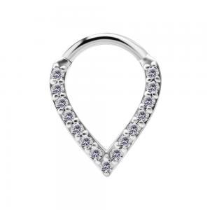 Ring till piercing - Teardrop Clicker - Silvrigt stål med kristaller