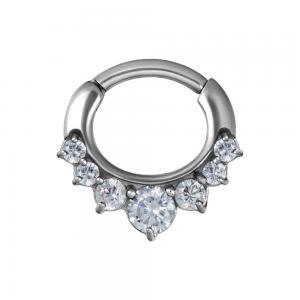 Septum Clicker - kirurgiskt stål - Teardrop med vita kristaller