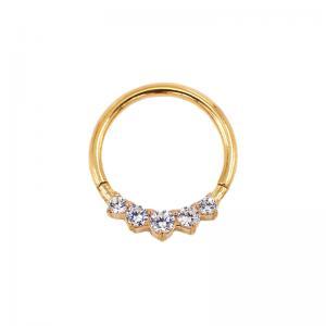 Tunn guldring till piercing med kristaller - Clicker 1.2 mm