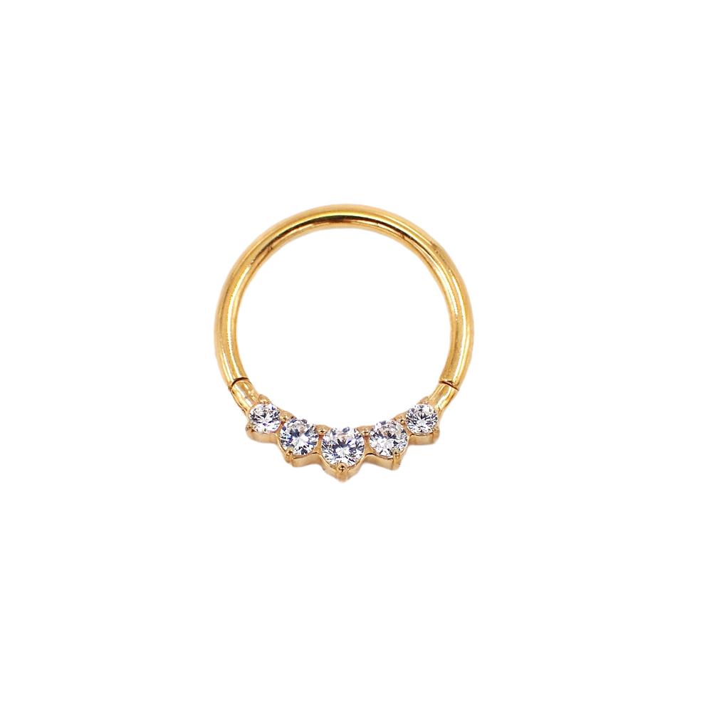 Tunn guldring till piercing med kristaller