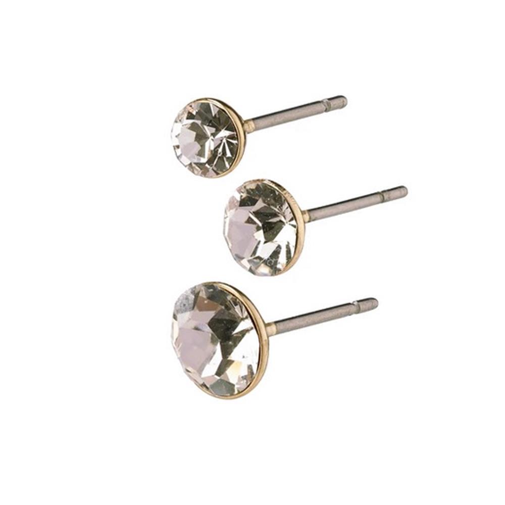 3 par örhängen - Pilgrim Millie - Studs i guld med vit kristall