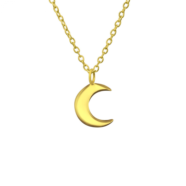 Halsband - Måne i guldpläterat silver