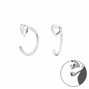 Hoops - Ear Huggies - Silver Hjärta
