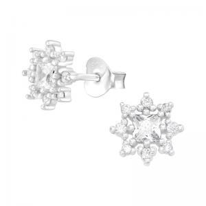 Örhängen - Äkta silver - Stjärna med kristaller