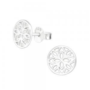 Mandala blomma - Studs - Örhängen i äkta silver