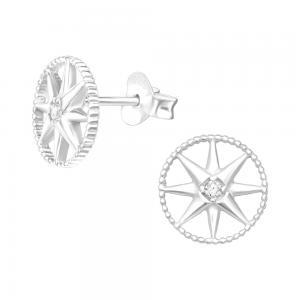 Cirkel med stjärna - Studs - Örhängen i äkta silver