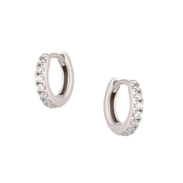 Huggie Hoops - Silverringar med vita kristaller - Örhängen