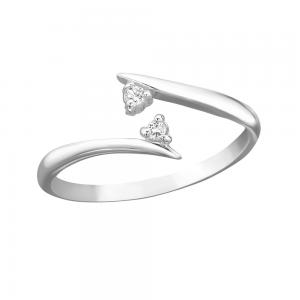 Tåring / Fingertoppsring - Äkta silver - Vita kristaller