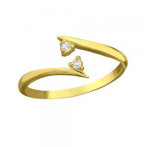 Tåring / Fingertoppsring - Guld - Tunn ring med vita kristaller
