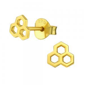 Örhängen -18k guldplätering - Honeycomb