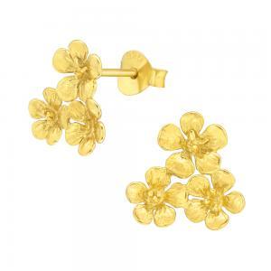 Stiftörhängen - Blommor i guld - Ear studs