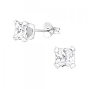 5 mm fyrkantig kristall - Kristallörhängen - Studs i äkta silver