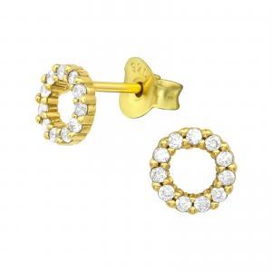 Stiftörhängen - Cirkel Kristall - Guldpläterat