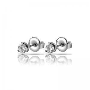 4 mm rund vit kristall - Kristallörhängen - Studs i kirurgiskt stål