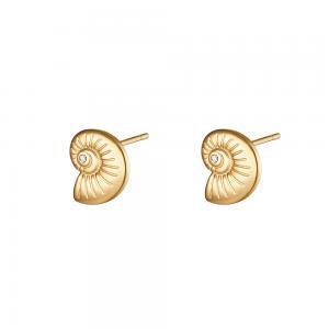 Örhängen - Snäcka i guld - Studs i Kirurgiskt stål