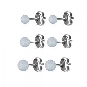 Örhängen - Kula - Studs i Kirurgiskt stål med vit opalit