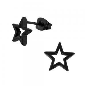 Svarta studs - Örhängen i kirurgiskt stål - Stjärna