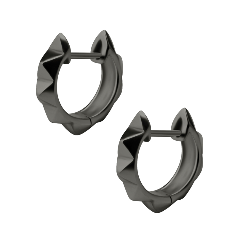 Huggie hoops - Örhängen - Svart kirurgiskt stål