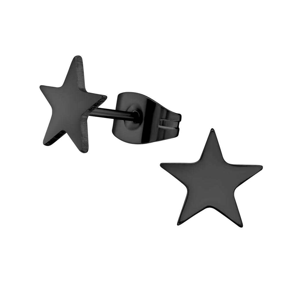 Stiftörhängen - Svart Stjärna - Kirurgiskt stål
