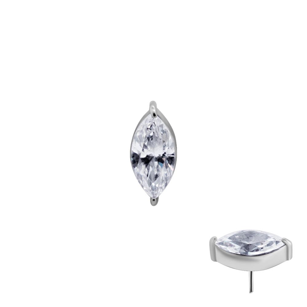 Avlång vit kristall - Push fit topp - Threadless piercingsmycke