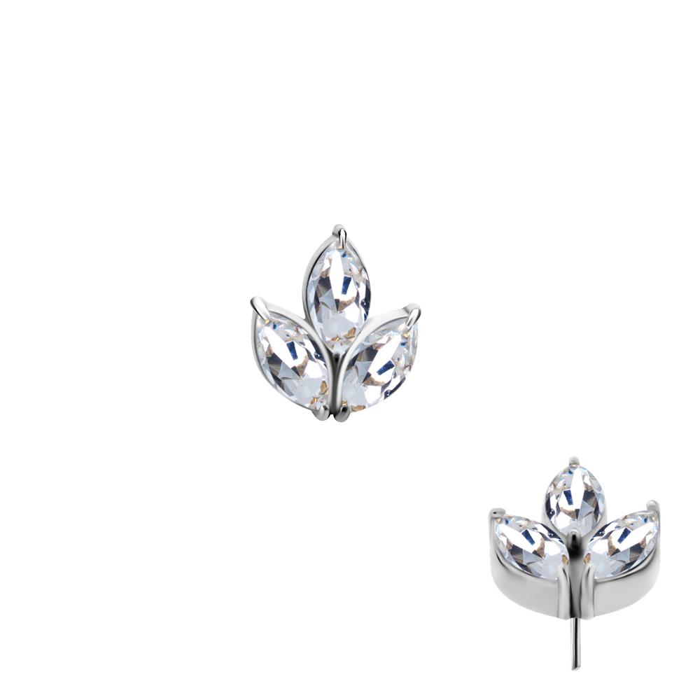 Lotus - Push fit topp - Threadless piercingsmycke med tre vita kristaller