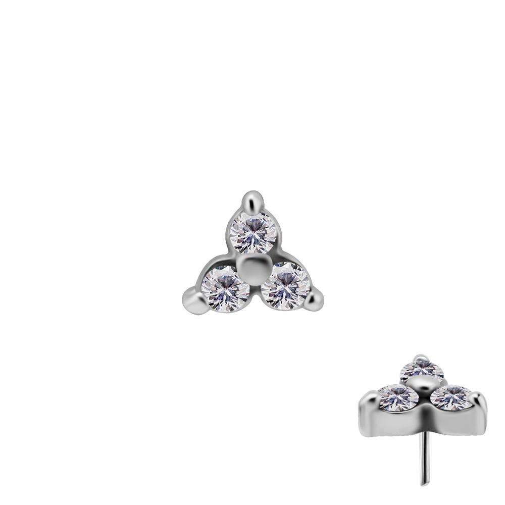 Trinity tre kristaller - Push fit topp - Threadless piercingsmycke