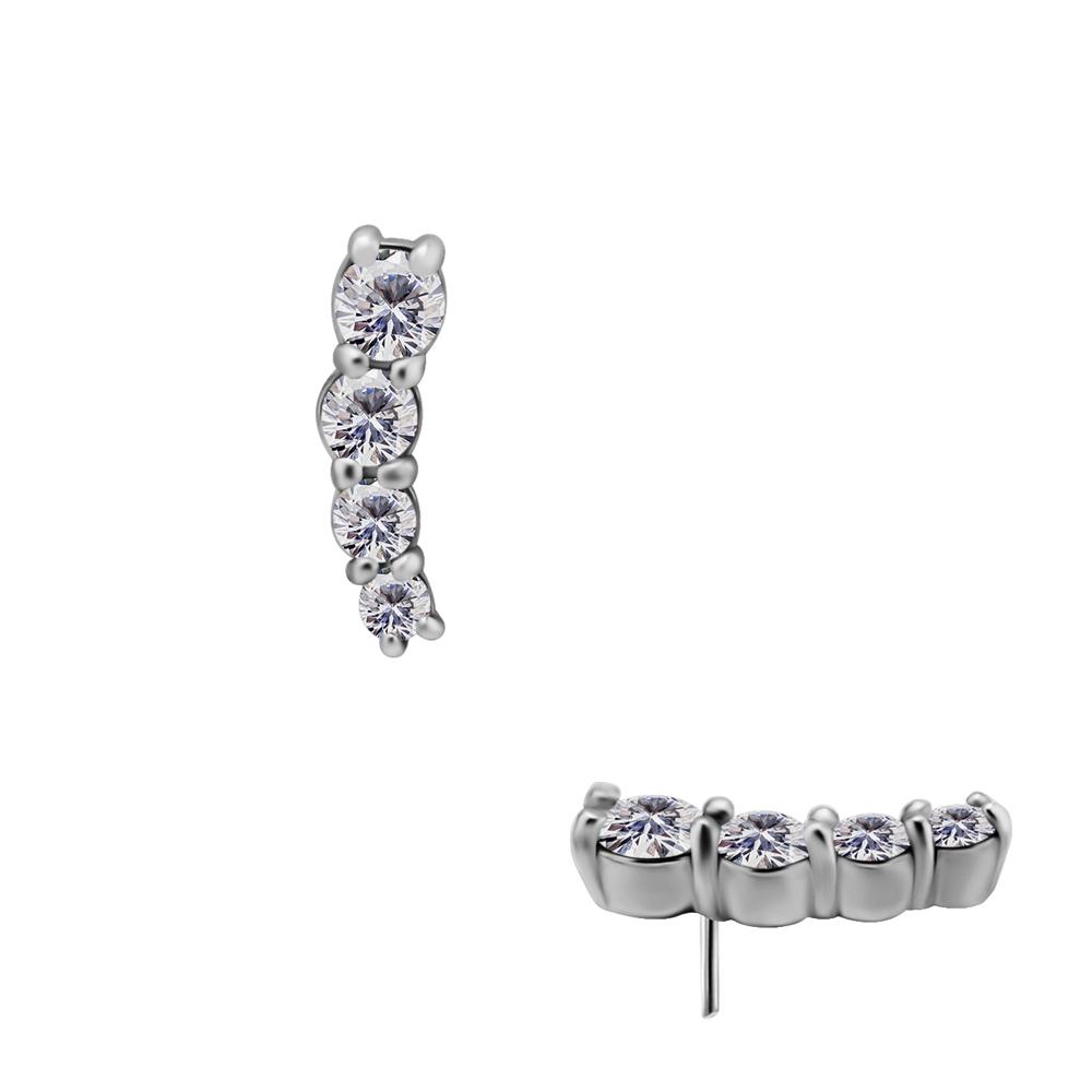 Rad med kristaller - Push fit topp - Threadless piercingsmycke