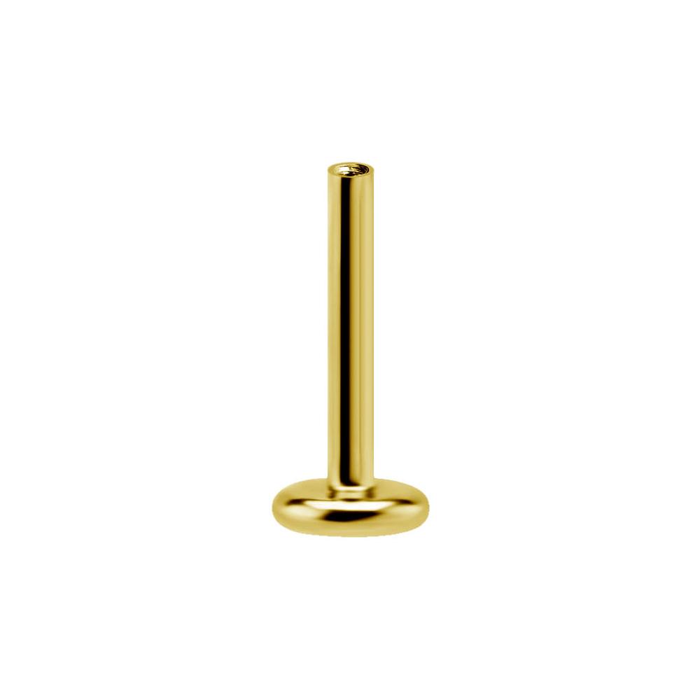 Labret Stav - Threadless - Gänglös stav till piercing - 24k guldplätering