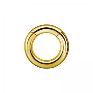 Tjock segment clicker ring - Guld - Slät ring till piercing i kirurgiskt stål