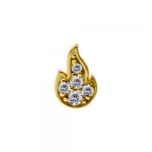 Piercingsmycke - Topp med vita kristaller - 18k äkta guld - Eld