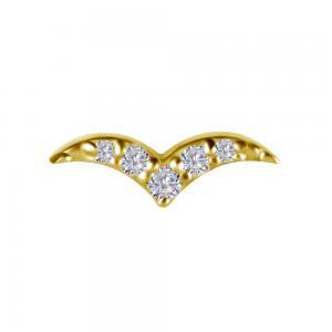 Piercingsmycke - Topp med fem diamanter - 18k äkta guld